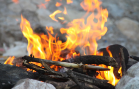 camping wild fire