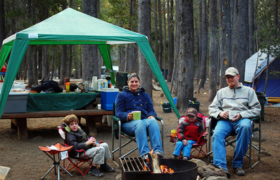 enjoying summer camping
